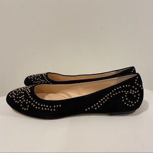 Isola Basanti Suede Flats Black & Gold Size 8